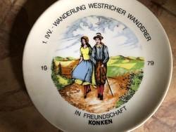 1. IVV Wanderung  Westricher Wanderer 1979-es német porcelán tányér