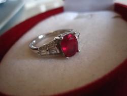 Lenyűgözően szép igazi vörös RUBIN  - 925 ezüst gyűrű