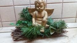 Karácsonyi ablakdísz, angyal fenyőágon   eladó!