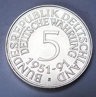 1 unciás színezüst 5 márka 1951-1991