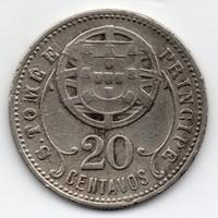 Portugál Sao Tomé és Principe szigetek 20 centavos, 1929, ritka