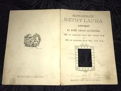 Szinháztörténeti dokumentum!!!! Rudnyánszkyné Réthy Laura autográf aláírt Aradi szinházi mûsorfüzete