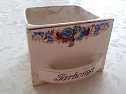 Régi Gránit fűszertartó tarhonya feliratos tartó virágos vintage népi kredenc fiók