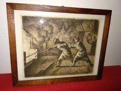 Régi, 19. sz.-i fémmunkásokat ábrázoló tus rajz, festmény vagy rézkarc kép kohómunkásokról