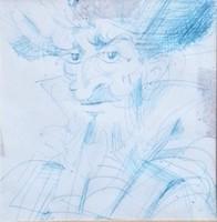 Győrfi András - Don Quijote 8.5 x 8.5 cm toll, papír