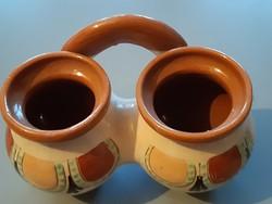 Szűcs Imre népi kerámia , fűszertartó ( Tiszafüred)