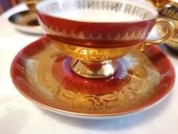 Ritkaság! Meseszép Rudolph Wachter kávéskészlet: 6 db csésze aljjal és egy tejkiöntő. Lenyűgöző..!