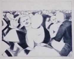 Bor Pál - Expresszív báli jelenet,  litográfia, 1922
