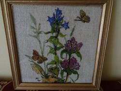 Virágokat ábrázoló üvegkép