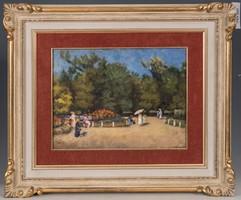 Kacser R. jelzésű impresszionista festmény, Az angol park címmel
