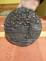 Percz János Csend bronz plakett