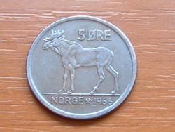NORVÉGIA 5 ŐRE 1966 SZARVAS #