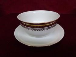 H & C csehszlovák porcelán szószos tál alátéttel,  a tál átmérője 13 cm.