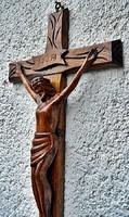 (1). Antik, Krisztus, korpusz (55.5 cm), 32 cm Krisztus, impozáns méretek, aprólékos, művészi, kem