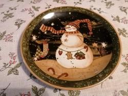Hangulatos, téli motívumos kerámia kínáló tányér. Hibátlan darab, kerámiából készült.