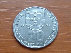 PORTUGÁL 20 ESCUDOS 1998  #