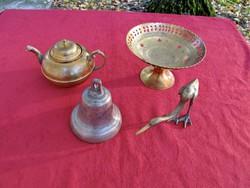 Réz/bronz harang, kócsag, teáskanna, asztalközép