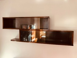 Bauhaus stílusú üvegezett fa könyvespolc