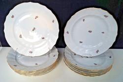 Herendi virágmintás 12 db lapos tányér