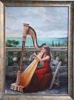 Szilárd Anikó: Csak a zene 50x70cm  olaj, vászon + ajándék keret!