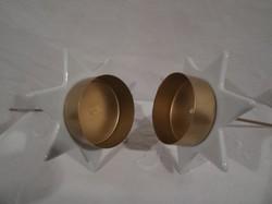 Metal - porcelain - new - detachable large candle holder 21 x 9 cm - porcelain star 9 cm - candle 5 cm