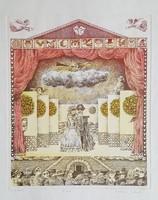 Molnár Gabriella - Színház 30 x 24 cm színezett rézkarc