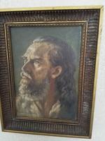 """""""Ferenczy Károly"""" szignóval férfi portré olajfestmény"""