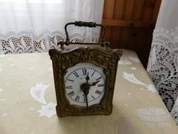 Gustav Becker utazó óra, asztali óra, minden alkatrész, tok, eredeti