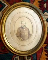 ANtik fénykép réz oválkeretben.XIX.szd.