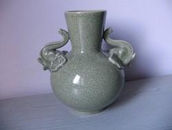 Régi szeladonmázas kerámia váza (23 cm)