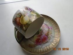Antik festményszerű gyümölcs csendélettel teás csésze alátéttel.