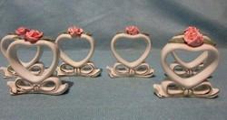 6 db szív alakú, masnis, rózsás kerámia szalvétagyűrű