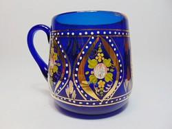 Dúsan aranyozott, kék , szakított  üveg korsó 2.