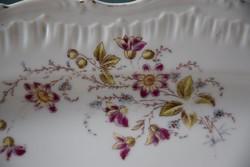 Antik Nagy Szecessziós virágos ibolyás sültes tál pecsenyés tál húsos tál kínáló 38 x 29 porcelán
