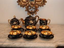 Antique Chodou tűz-aranyozott 6 szem. teáskészlet 1905 - 1910 közötti évekből! Hibátlan, jelzett!