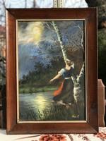 Bán Tibor olajfestmény farostra 60x40 méretben