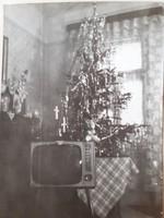Régi karácsonyi fotó 1967 vintage karácsonyfa fénykép 2 db