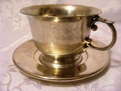 Jelzett, különleges, antik, ezüstözött alpakka, nagy méretű csésze, komacsésze csészealjjal