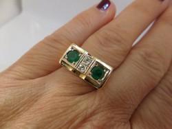 Smaragdos - brilles art deco arany gyűrű