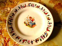 Antik gyermek, mese  mintával  antik porcelánfajansz tányér