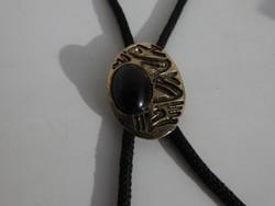Férfi  nyaklánc - fekete nagyméretű kővel