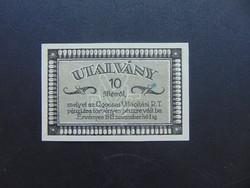 10 fillér 1919 Ugocsai Világítás RT Hajtatlan bankjegy