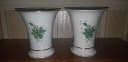 Herendi zöld Apponyi mintás  váza pár 17 cm