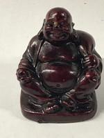 Buddha szobor cinóber színű műgyantából, 4 cm magas