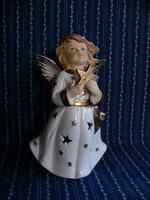 Porcelán mécsestartó angyalka