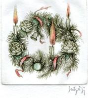 Sulyok Gabriella - Advent 8 x 8 cm színezett rézkarc, papír
