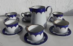 Lampert luxus kék - arany dekoros zománc kávés / teás készlet - 70 éves