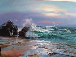 Óceán vihar után (olaj, vászon 70x100)