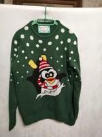 """Karácsonyi kötött pulóver, pulcsi,""""M""""-es zöld."""