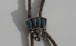 Férfi  nyaklánc - Bikafej türkiz kövekkel